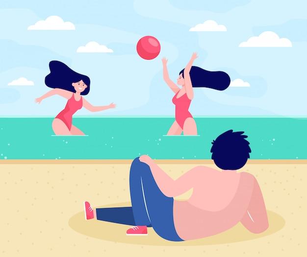 Ludzie Relaksujący Się Na Plaży Darmowych Wektorów