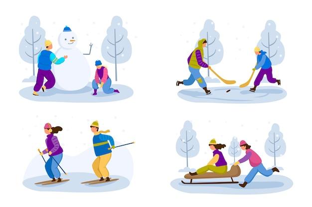 Ludzie Robią Fajne Zimowe Zajęcia Darmowych Wektorów