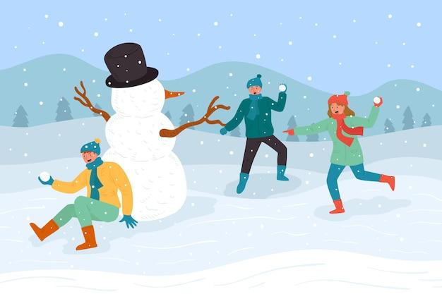 Ludzie Robią Zimowe Zajęcia Na świeżym Powietrzu Premium Wektorów