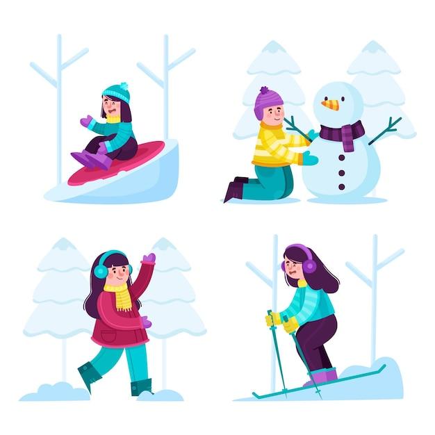 Ludzie Robią Zimowe Zajęcia Na świeżym Powietrzu Darmowych Wektorów