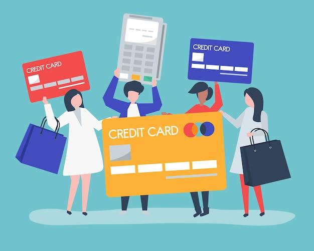Ludzie robiący zakupy za pomocą karty kredytowej Darmowych Wektorów