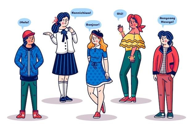 Ludzie Rozmawiają W Różnych Językach Stylu Cartoon Darmowych Wektorów