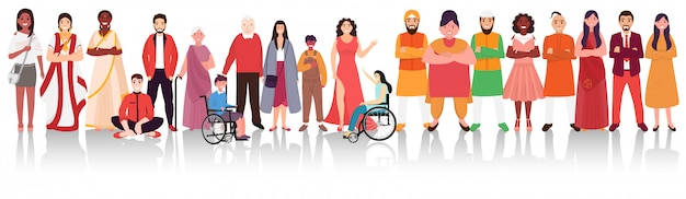 Ludzie Różnych Religii Wykazujący Jedność W Różnorodności Indii. Premium Wektorów