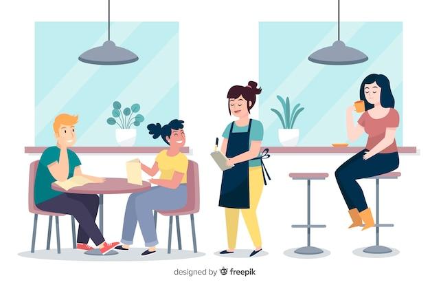Ludzie Siedzą W Kawiarni Darmowych Wektorów