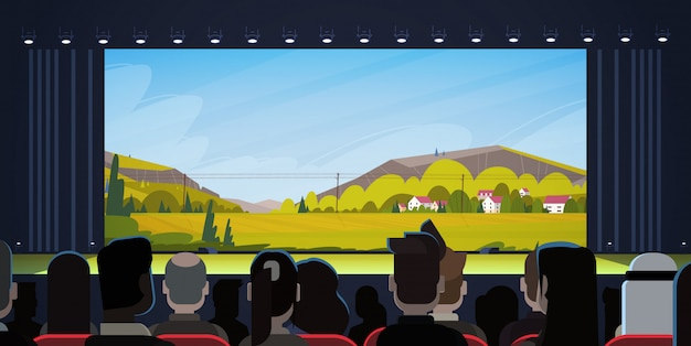 Ludzie Siedzą W Kinie Oglądając Film Z Tyłu Premium Wektorów