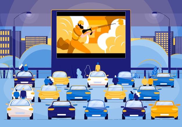 Ludzie Siedzący W Samochodach I Oglądający Film Akcji Premium Wektorów
