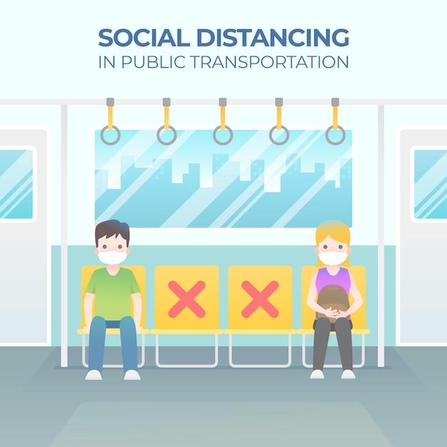 Ludzie Siedzący Z Dala Od Siebie Koncepcji Dystansowania Społecznego Premium Wektorów