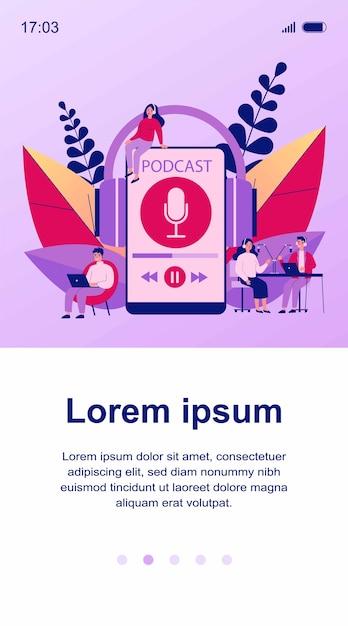 Ludzie Słuchający Głośników Z Ilustracji Stacji Nadawczej. Mężczyzna I Kobieta Słucha Podcastu Online Anchorperson Siedzi I Mówi Do Mikrofonu. Koncepcja Radia I Technologii Premium Wektorów