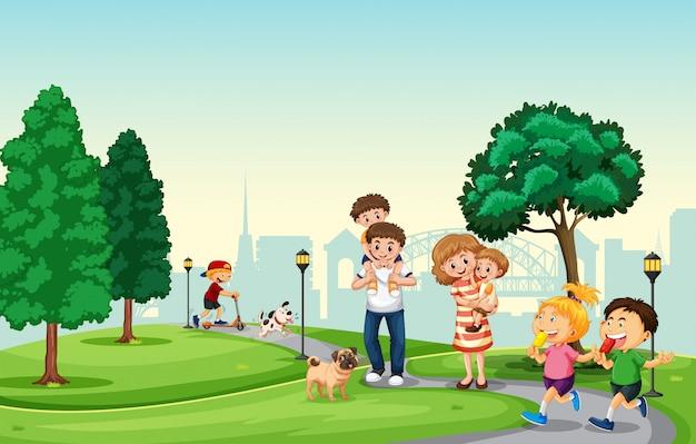 Ludzie spędzają wakacje w parku Darmowych Wektorów