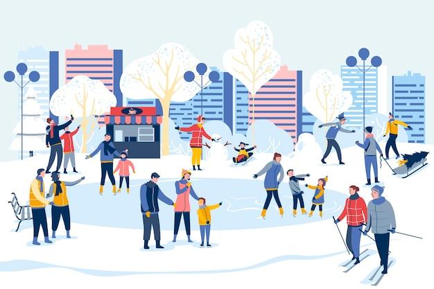 Ludzie Spędzający Razem Czas Zimą Premium Wektorów