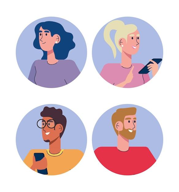 Ludzie Społeczności Używający Ilustracji Postaci Awatarów Smartfonów Premium Wektorów
