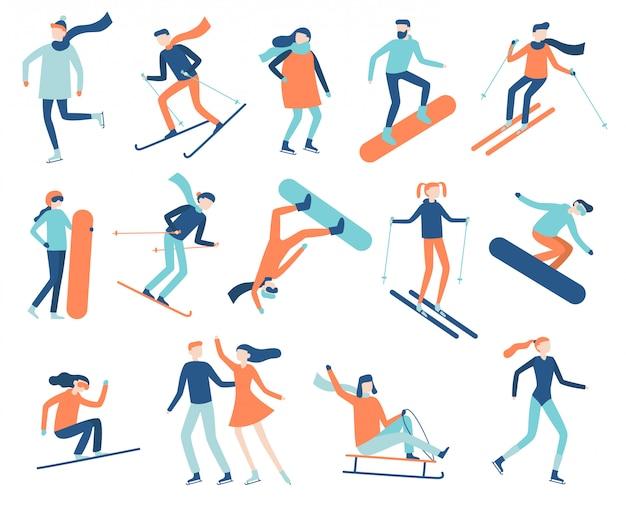 Ludzie Sportów Zimowych. Sportowiec Na Snowboardzie, Nartach Lub łyżwach. Snowboard, Narciarstwo I łyżwiarstwo Sportowe Na Białym Tle Płaski Wektor Zestaw Premium Wektorów
