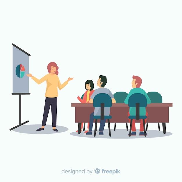 Ludzie Spotykają Się W Biurze Tło Premium Wektorów