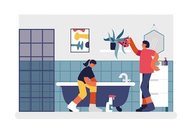 Ludzie Sprzątający łazienkę Ilustracja. Postać Kobieca Z Czerwoną Puszką Podlewającą Kwiaty Na Półce. Nastoletnia Dziewczyna Dokładnie Myje Wannę. Cotygodniowe Sprzątanie Domu I Mieszkania Wektor Mieszkanie. Premium Wektorów