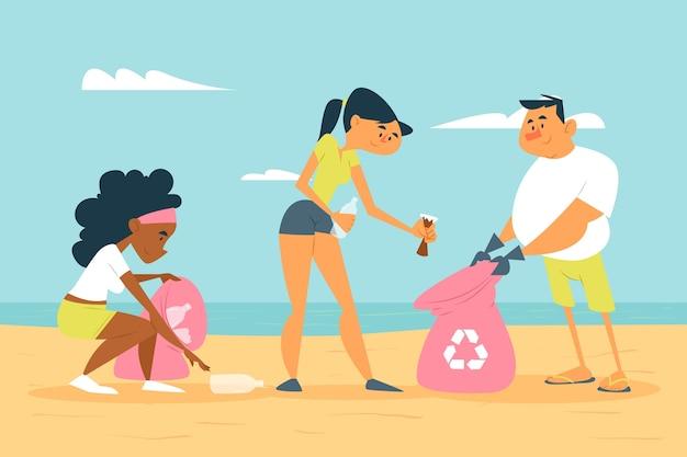 Ludzie Sprzątający Plażę śmieci Darmowych Wektorów