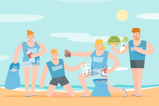 Ludzie Sprzątający Plażę Z Gruzów Darmowych Wektorów