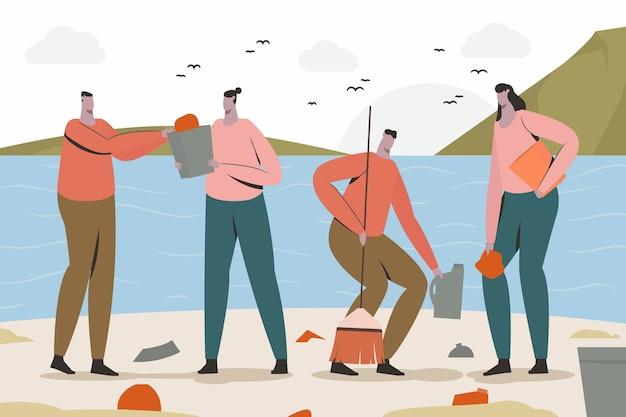 Ludzie Sprzątający Plażę Darmowych Wektorów