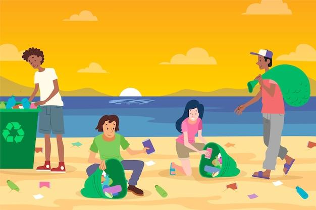 Ludzie Sprzątający śmieci Na Plaży Darmowych Wektorów