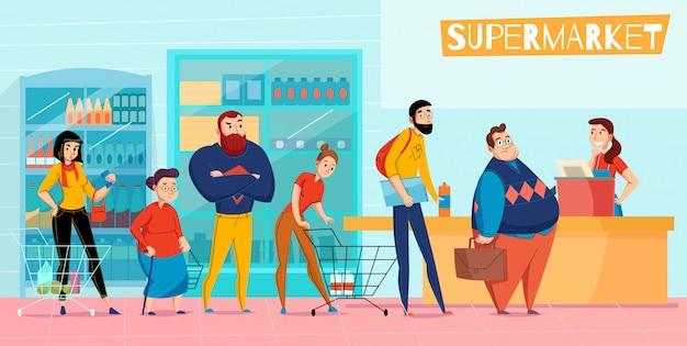 Ludzie Stoi W Długiej Supermarket Kolejce Wykłada W Górę Czekanie Kasy Obsługi Klienta Składu Horyzontalnej Płaskiej Ilustraci Darmowych Wektorów