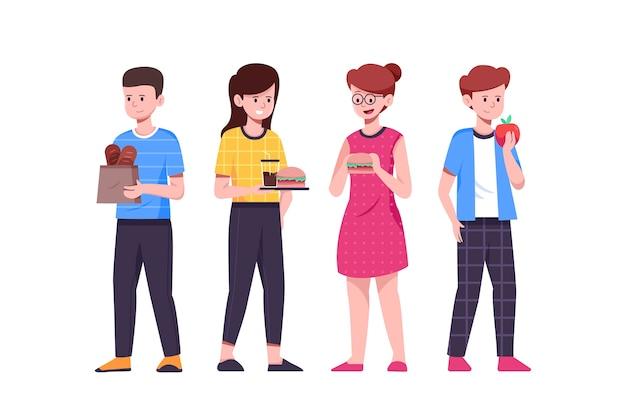 Ludzie Stojący I Jedzący Fast Food Darmowych Wektorów