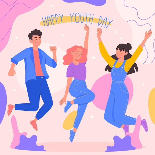 Ludzie świętują Dzień Młodzieży Darmowych Wektorów