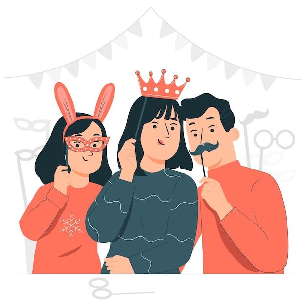 Ludzie świętują Ilustracja Koncepcja Purim Day Darmowych Wektorów