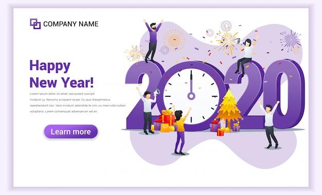 Ludzie świętują nowy rok w pobliżu wielkiego zegara i wielkiego sztandaru liczb 2020 symbol Premium Wektorów