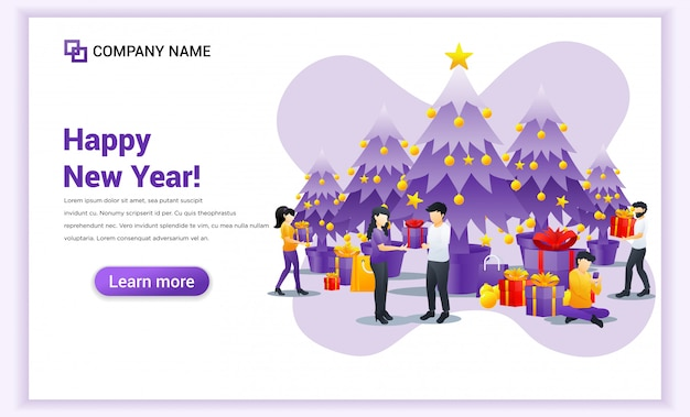 Ludzie świętują nowy rok, wręczając sobie nawzajem transparent na pudełko Premium Wektorów