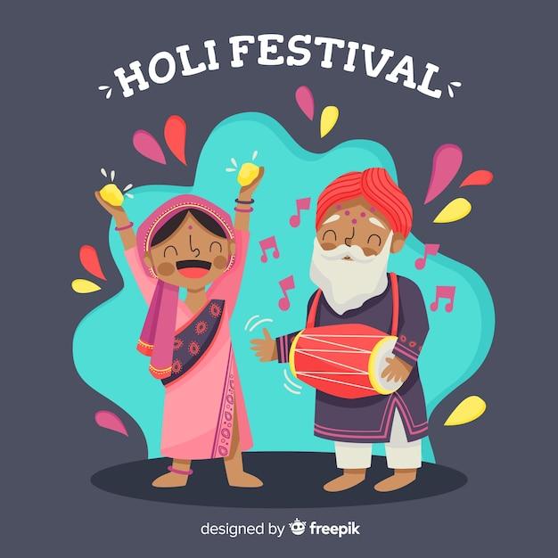 Ludzie świętujący Festiwal Holi Darmowych Wektorów