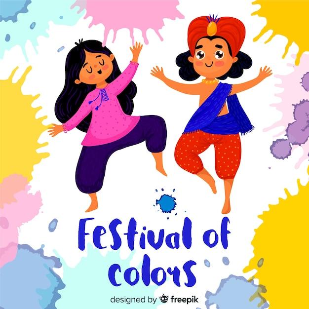 Ludzie świętuje Holi Festiwalu Tło Darmowych Wektorów