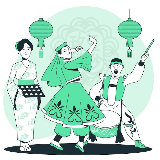 Ludzie świętuje W Połowie Jesień Festiwalu Pojęcia Ilustrację Darmowych Wektorów