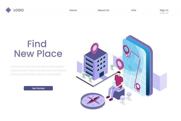 Ludzie Szukają Lokalizacji Za Pomocą Aplikacji Nawigacyjnych W Izometrycznym Stylu Ilustracji Premium Wektorów