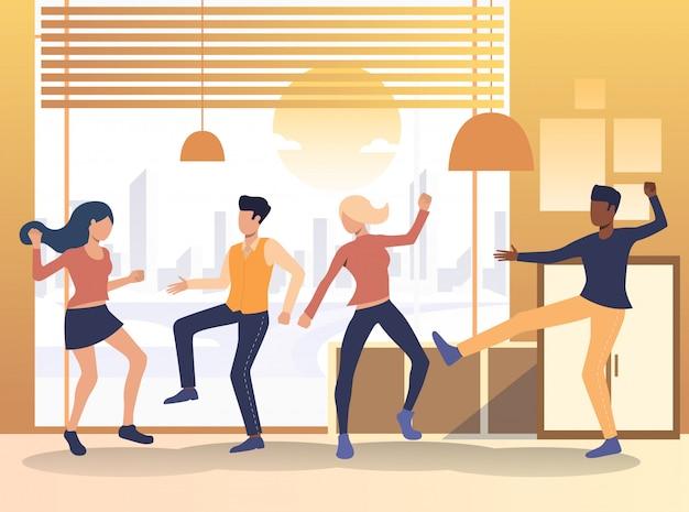 Ludzie tańczą w domu Darmowych Wektorów
