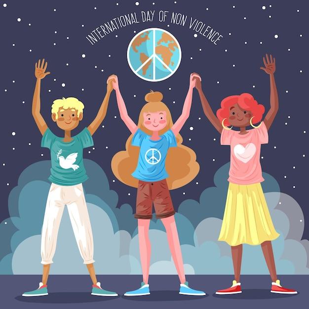 Ludzie Trzymający Się Za Ręce Na Międzynarodowy Dzień Ilustracji Bez Przemocy Darmowych Wektorów