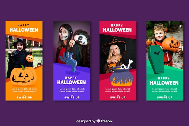 Ludzie ubrani w kostiumy na halloween opowiadają instagram Darmowych Wektorów