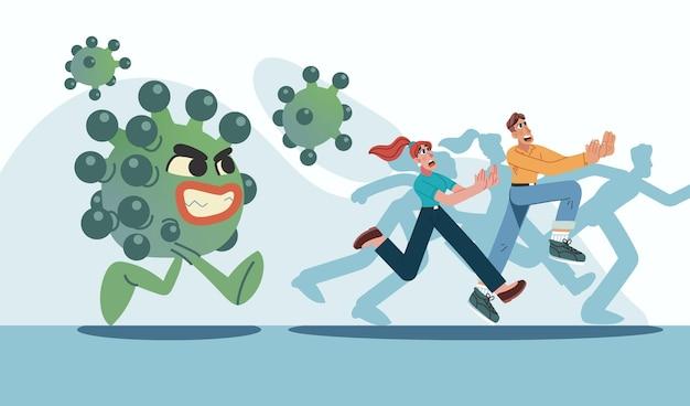 Ludzie Uciekają Przed Cząsteczkami Koronawirusa Premium Wektorów