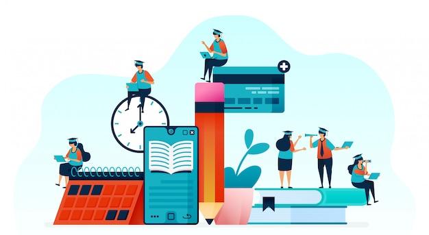 Ludzie uczą się korzystać z e-booków. Premium Wektorów