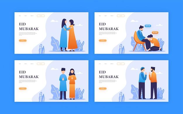 Ludzie Ustawiają Ilustrację Dla Ramadan / Eid Mubarak Pozdrowienia Z Koncepcją Strony Docelowej Premium Wektorów