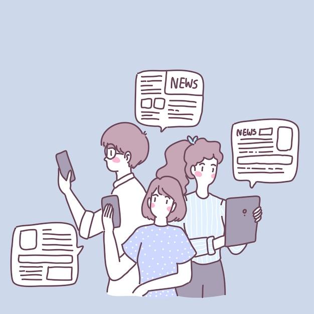 Ludzie Używają Smartfonów Do Otrzymywania Wiadomości W życiu Codziennym. Darmowych Wektorów