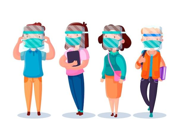 Ludzie Używają Twarzy Osłony I Maski Ilustraci Darmowych Wektorów