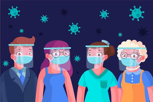 Ludzie Używający Osłony Twarzy I Maski Darmowych Wektorów