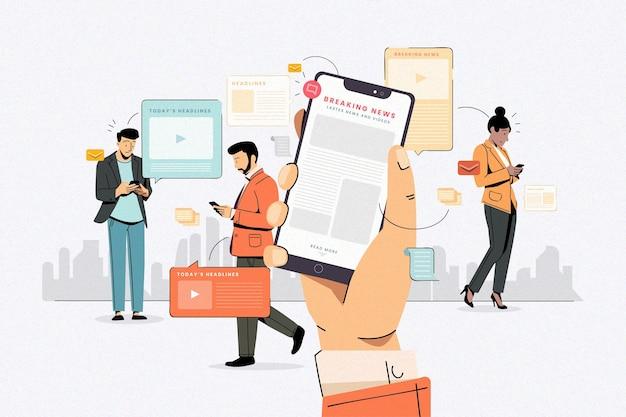 Ludzie Używający Swoich Telefonów Komórkowych Do Wiadomości Darmowych Wektorów