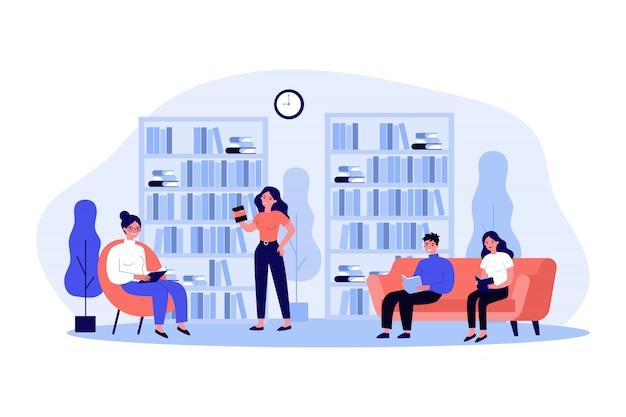 Ludzie W Bibliotece Ilustracji Premium Wektorów