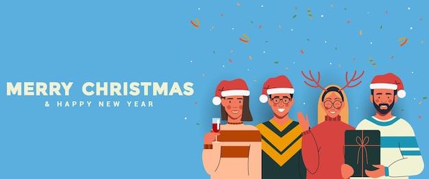 Ludzie W Czapkach świętego Mikołaja Bawią Się I świętują Boże Narodzenie I Nowy Rok. Szczęśliwego Nowego Roku I Wesołych świąt Bożego Narodzenia Koncepcja. Premium Wektorów