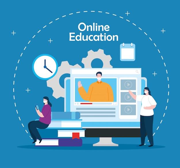 Ludzie W Edukacji Online Z Komputerowym Ilustracyjnym Projektem Darmowych Wektorów