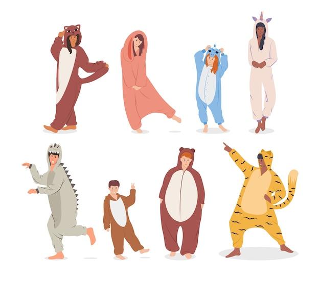 Ludzie W Ilustracji Piżamy Premium Wektorów