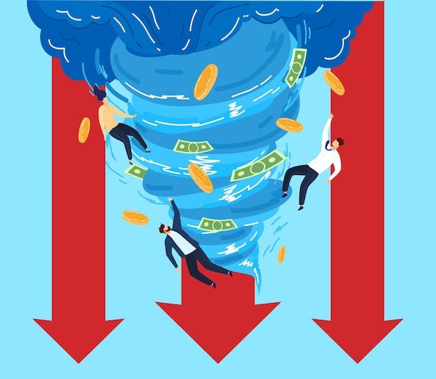Ludzie W Ilustracji Wektorowych Pieniądze Tornado. Postaci Z Kreskówek Płaskich Biznesmen Latające Z Papierową Monetą, Destrukcyjny Lejek Wiatru Biznesowego Lub Trąba Powietrzna Dmuchająca Walutą Premium Wektorów