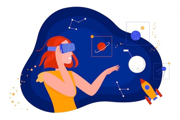 Ludzie W Ilustracji Wirtualnej Rzeczywistości, Postać Z Kreskówki Płaskiej Kobiety W Zestawie Słuchawkowym Vr Okulary Patrząc Na Wymarzoną Przestrzeń Wszechświata Premium Wektorów