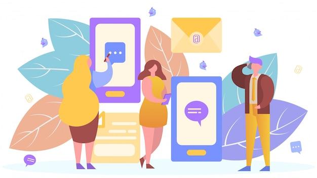 Ludzie W Internet Technologii Komunikacji Mobilnej, Ilustracja. Wiadomość Aplikacja Na Smartfona, Osoba Mężczyzna Kobieta Online Premium Wektorów