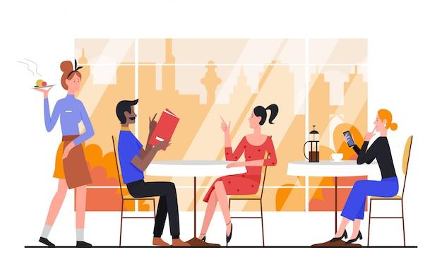Ludzie W Jesień Ilustracja Kawiarnia Miasta. Kreskówka Mężczyzna Kobieta Przyjaciele Lub Para Postaci Zamawiania, Siedząc Przy Stole W Kafeterii W Pobliżu Dużego Okna Z Jesiennym Pejzażem Na Białym Tle Premium Wektorów